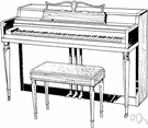 spinet - a small and compactly built upright piano