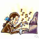 hit - produce by manipulating keys or strings of musical instruments, also metaphorically