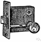 door latch - spring-loaded doorlock that can only be opened from the outside with a key