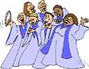 gospel singing - folk music consisting of a genre of a cappella music originating with Black slaves in the United States and featuring call and response