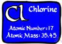 atomic number 17 - a common nonmetallic element belonging to the halogens