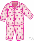 jammies - (usually plural) loose-fitting nightclothes worn for sleeping or lounging