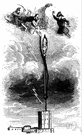 lightning rod - a metallic conductor that is attached to a high point and leads to the ground