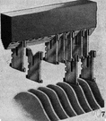 Linotype - a typesetting machine operated from a keyboard that casts an entire line as a single slug of metal