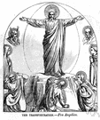transfiguration - the act of transforming so as to exalt or glorify