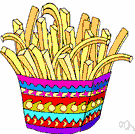 fries - strips of potato fried in deep fat