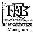 monogram - a graphic symbol consisting of 2 or more letters combined (usually your initials)