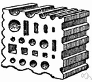 swage block - an iron block cut with holes and grooves to assist in cold working metal