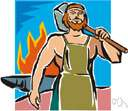 Hephaestus - (Greek mythology) the lame god of fire and metalworking in ancient mythology