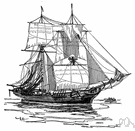 brigantine - two-masted sailing vessel square-rigged on the foremast and fore-and-aft rigged on the mainmast