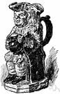 toby jug - a drinking mug in the shape of a stout man wearing a three-cornered hat