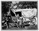 prairie schooner - a large wagon with broad wheels and an arched canvas top