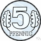 pfennig - 100 pfennigs formerly equaled 1 Deutsche Mark in Germany
