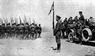 reviewing stand - a stand from which a parade or military force can be reviewed