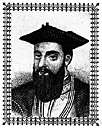 gamma - Portuguese navigator who led an expedition around the Cape of Good Hope in 1497