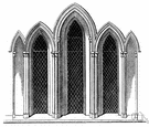 lancet window - a narrow window having a lancet arch and without tracery