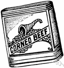 corned beef - beef cured or pickled in brine