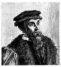 Calvin - Swiss theologian (born in France) whose tenets (predestination and the irresistibility of grace and justification by faith) defined Presbyterianism (1509-1564)