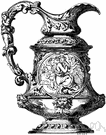 pitcher - an open vessel with a handle and a spout for pouring