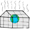 greenhouse effect - warming that results when solar radiation is trapped by the atmosphere