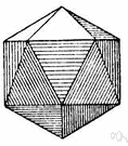 Regular icosahedron - an icosahedron with twenty equilateral triangles as faces