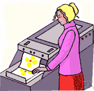 Xerox machine - a duplicator (trade mark Xerox) that copies graphic matter by the action of light on an electrically charged photoconductive insulating surface in which the latent image is developed with a resinous powder