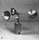 anemometer - a gauge for recording the speed and direction of wind