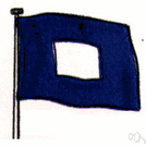 blue peter - a blue flag with a white square in the center indicates that the vessel is ready to sail