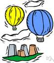 hot-air balloon - balloon for travel through the air in a basket suspended below a large bag of heated air