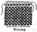 weave - create a piece of cloth by interlacing strands of fabric, such as wool or cotton