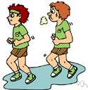 jogging - running at a jog trot as a form of cardiopulmonary exercise