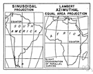 sinusoidal projection - an equal-area map projection showing parallels and the equator as straight lines and other meridians as curved