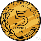centime - a fractional monetary unit of several countries: France and Algeria and Belgium and Burkina Faso and Burundi and Cameroon and Chad and the Congo and Gabon and Haiti and the Ivory Coast and Luxembourg and Mali and Morocco and Niger and Rwanda and Senegal and Switzerland and Togo