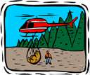 airlift - transportation of people or goods by air (especially when other means of access are unavailable)