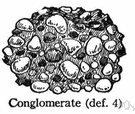 conglomerate - a composite rock made up of particles of varying size