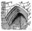 corbel - (architecture) a triangular bracket of brick or stone (usually of slight extent)