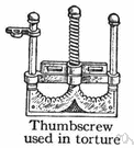 thumbscrew - instrument of torture that crushes the thumb