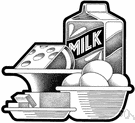 dairy product - milk and butter and cheese
