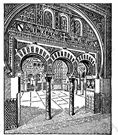 Moorish arch - a round arch that widens before rounding off