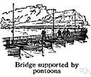 bateau bridge - a temporary bridge built over a series of pontoons