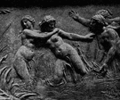 relief - sculpture consisting of shapes carved on a surface so as to stand out from the surrounding background