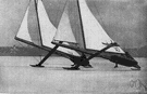 iceboat - a sailing vessel with runners and a cross-shaped frame
