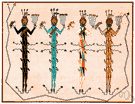 sand painting - a painting done by Amerindians (especially Navaho)