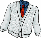 cardigan - knitted jacket that is fastened up the front with buttons or a zipper