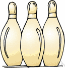 duckpins - a bowling game using a pin smaller than a tenpin but proportionately wider