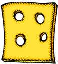Swiss cheese - hard pale yellow cheese with many holes from Switzerland