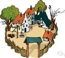 village - a settlement smaller than a town