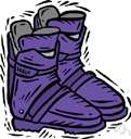 ski boot - a stiff boot that is fastened to a ski with a ski binding