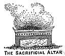 altar - a raised structure on which gifts or sacrifices to a god are made