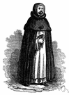 Dominican - a Roman Catholic friar wearing the black mantle of the Dominican order